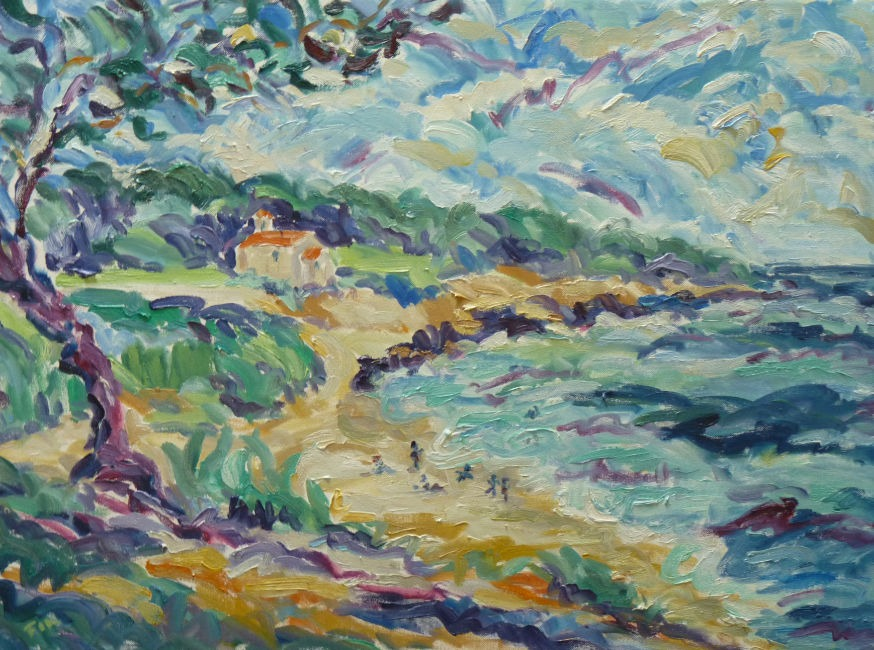 Fi Katzler - St Croix Beach and Chapel - Oil on Canvas - 21 x 29 inches