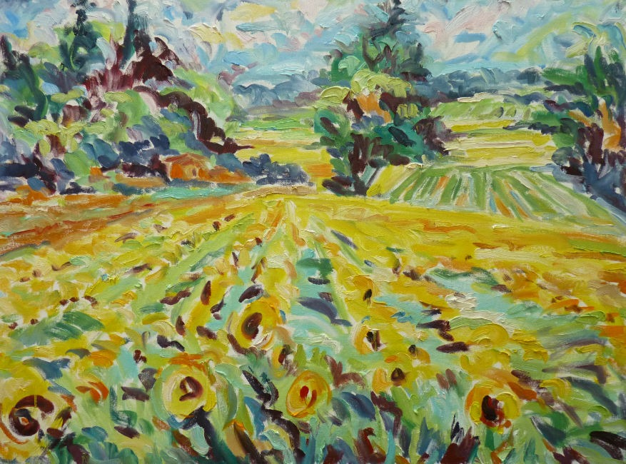 Fi Katzler - Sunflowers at Cadenet - Oil on Canvas - 21 x 29 inches
