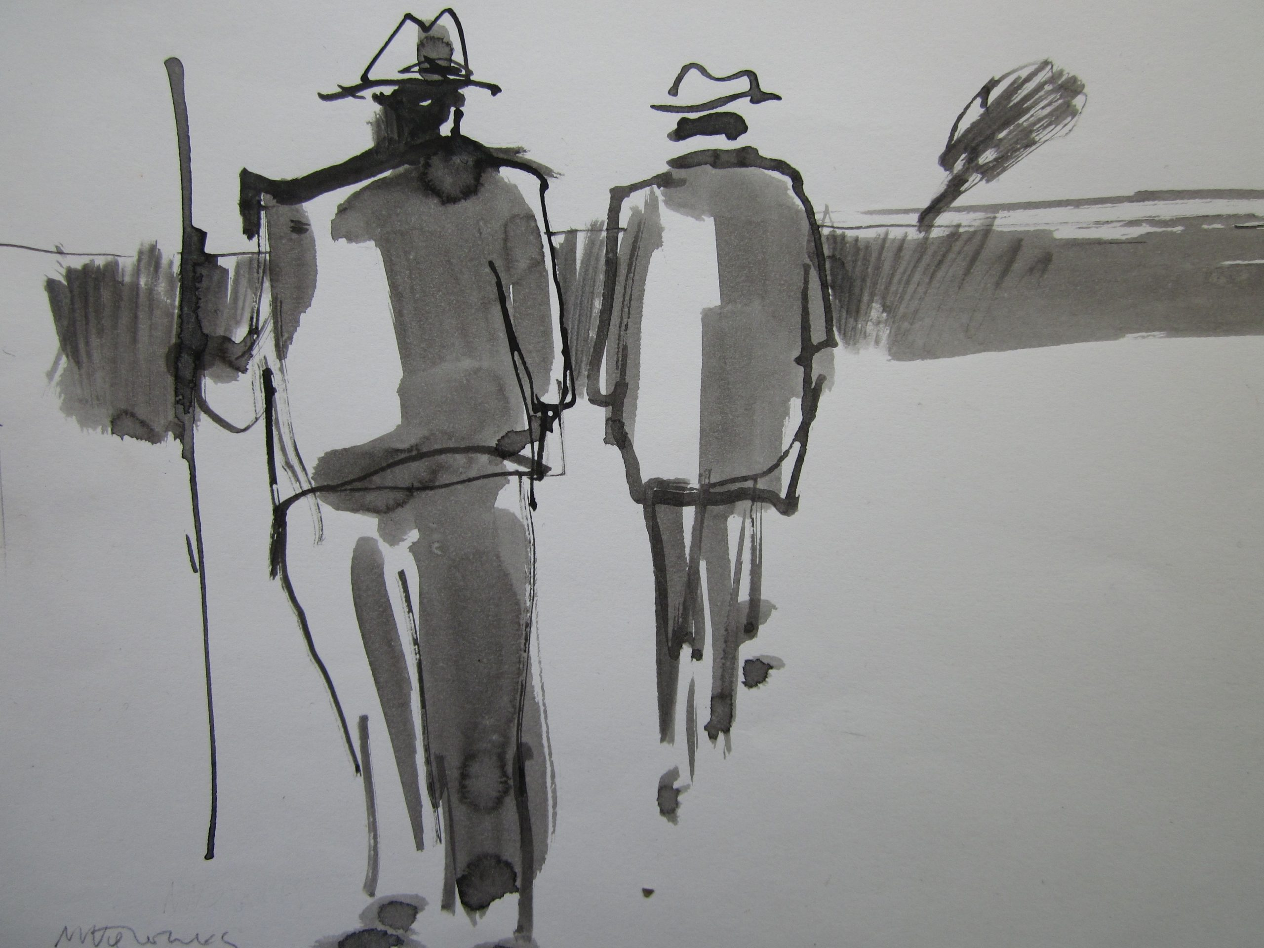 Mike Jones - Figures in Landscape I - Ink Wash - 7.5 x 9.5 inches