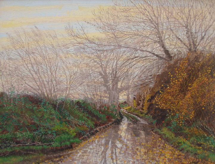 Maurice Sheppard - Flooded Lane, Gower, Autumn, Wales - Oil and Linen on Board - 8.75 x 11.5 inches