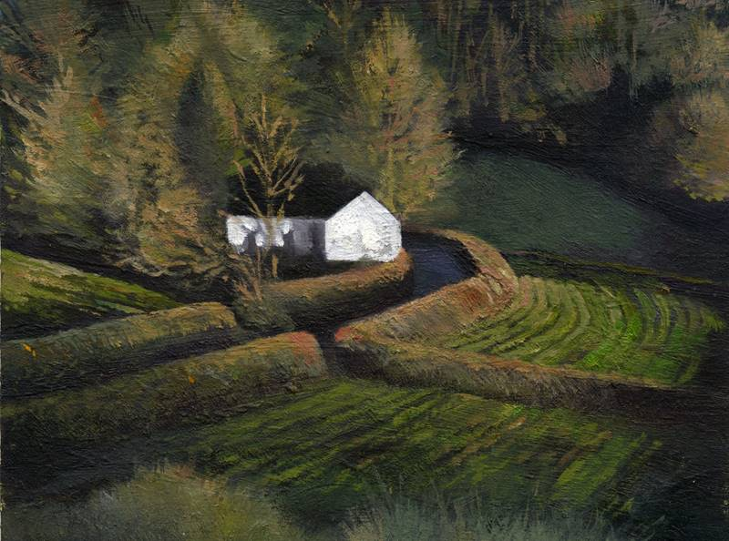 Gareth Hugh Davies - Cae Ras Pentregwenlais - Oil on Board - 6 x 5 inches