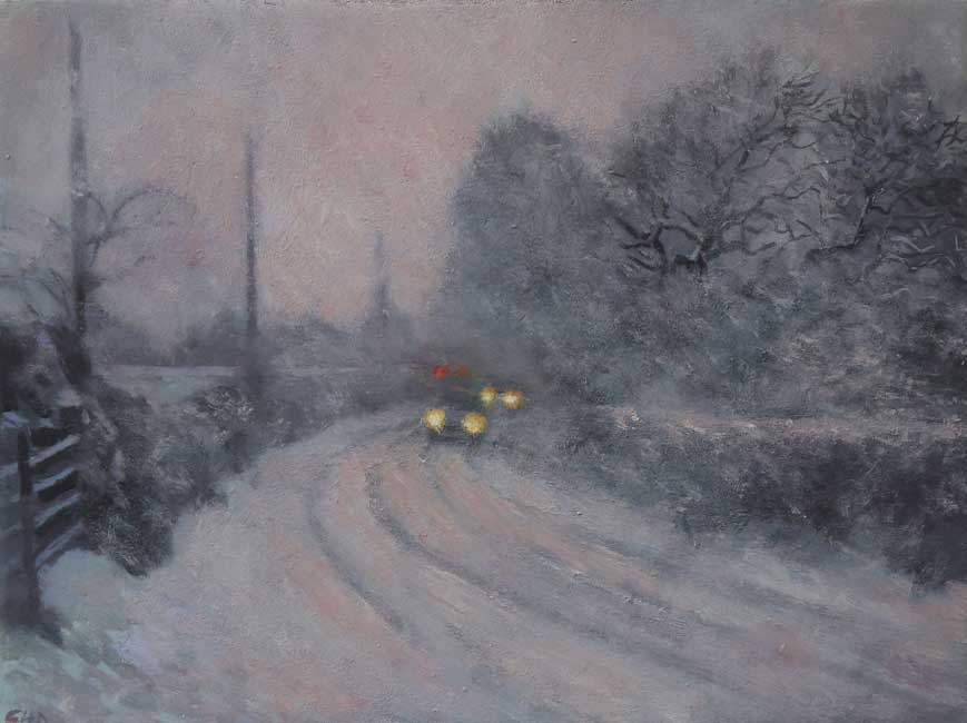 Gareth Hugh Davies - Snow Day - Oil on Board - 9.5 x 7 inches