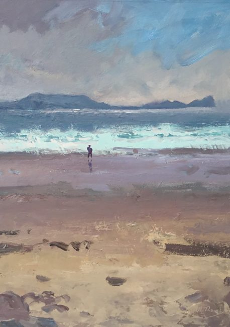 Gareth Thomas - Figure, Worms Head after Rain - Oil on Canvas - 10 x 12 inches