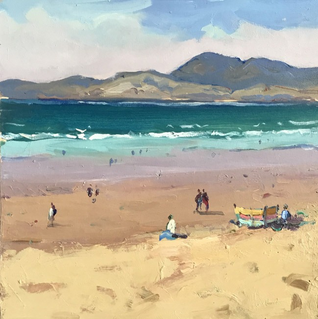 Gareth Thomas - Figures on the Beach Harlech - Oil - 9 x 10 inches
