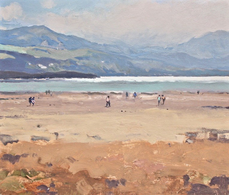 Gareth Thomas - On the Beach Harlech North Wales - Oil - 9 x 10 inches