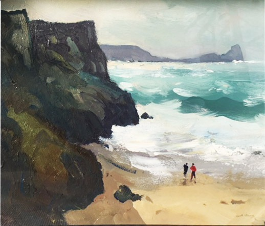 Gareth Thomas - The Red Jacket Rough Day Rhossili - Oil - 13 x 12 inches