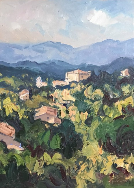 Gareth Thomas - Towards Rustel, Provence - Oil - 16 x 22 inches