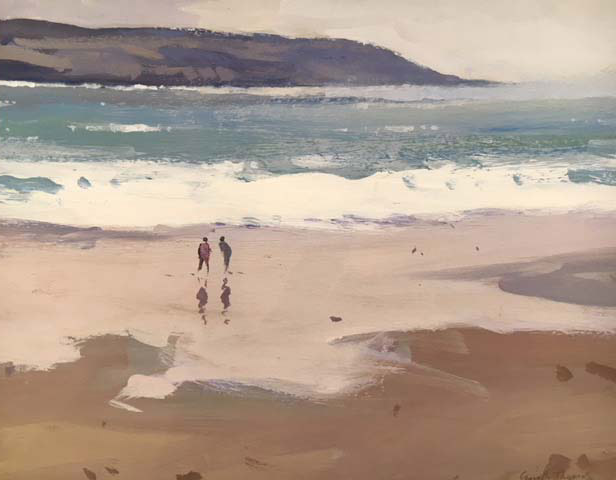 Gareth Thomas - Two Figures Oxwich Bay Gower - Oil - 11 x 9 inches