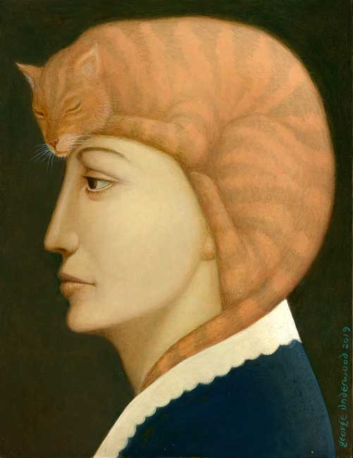 George Underwood - Cat Hat - Oil on Wood - 10.5 x 13.75 inches
