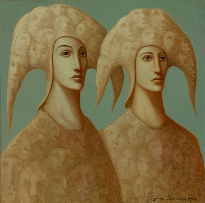 George Underwood - Double Vision - Oil on Canvas - 18 x 18 inches