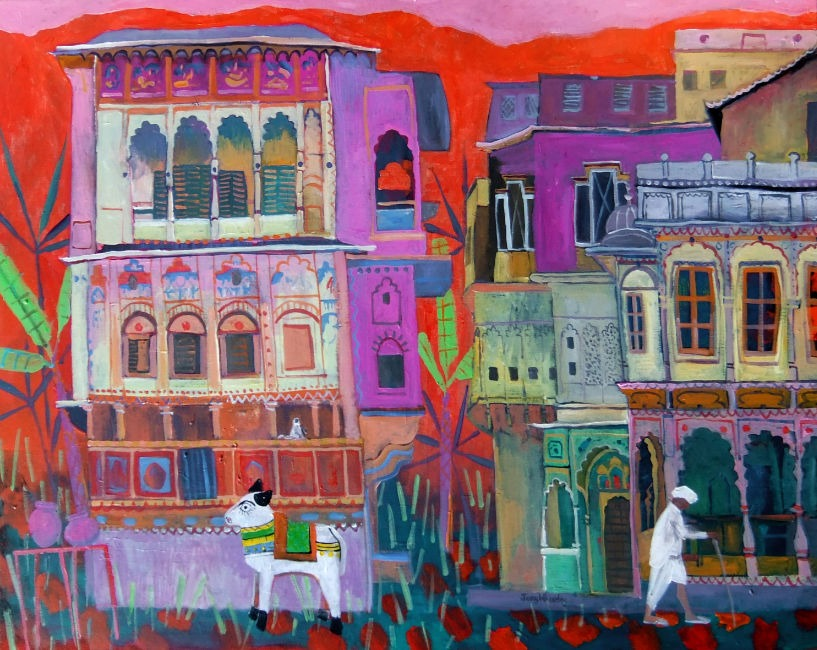Jenny Wheatley - Haveli in Rajasthan - Acrylic on Canvas - 28 x 36 inches