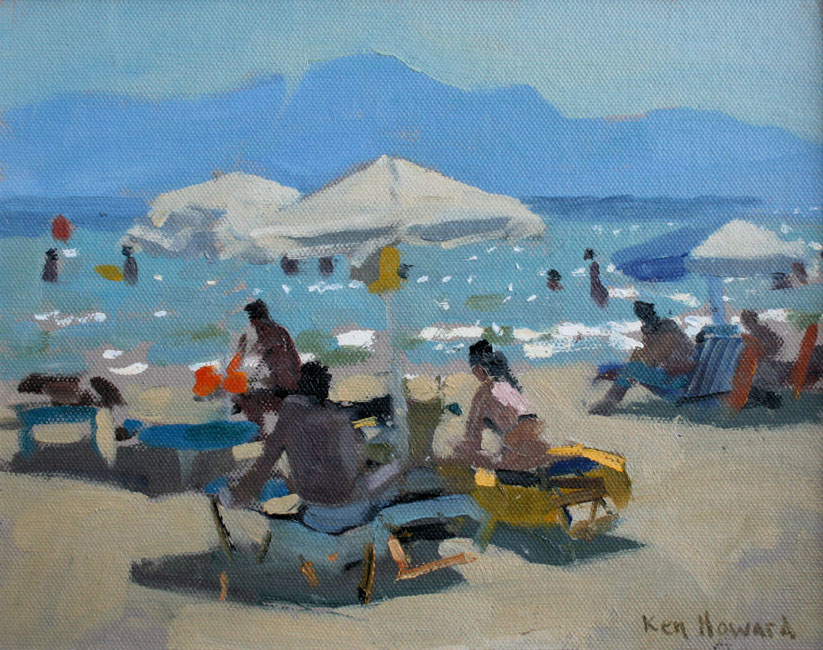 Ken Howard - Almyros Beach, Crete - Oil on Canvas - 8 x 10 inches