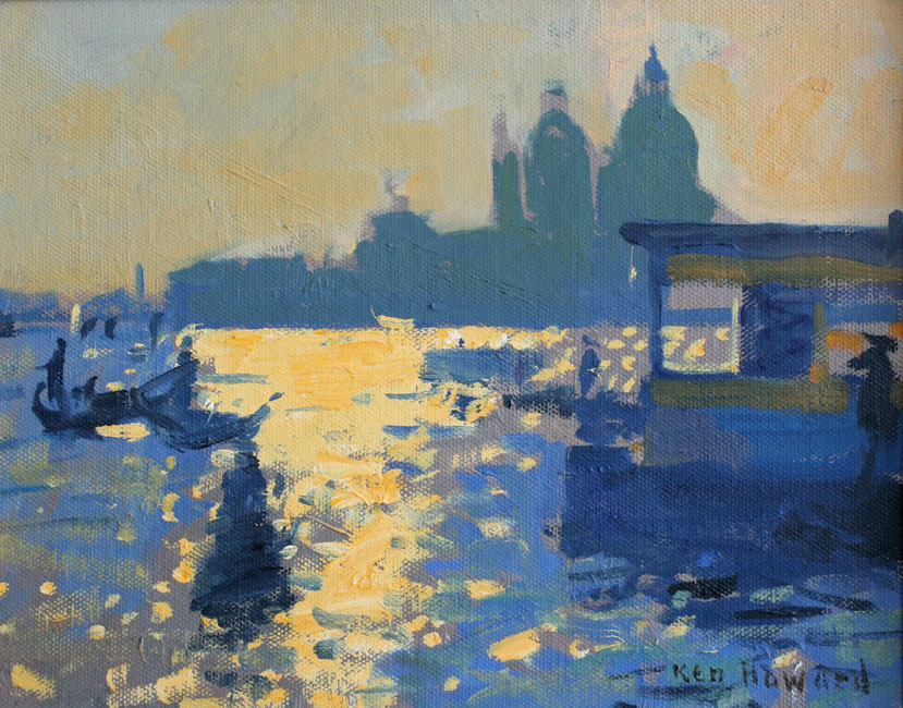 Ken Howard - The Salute, Venice - Oil on Canvas - 8 x 10 inches