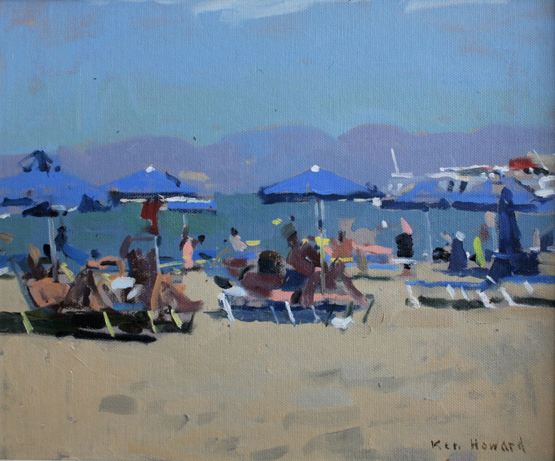 Ken Howard - Elounda Beach, early afternoon light - Oil on Canvas - 10 x 12 inches