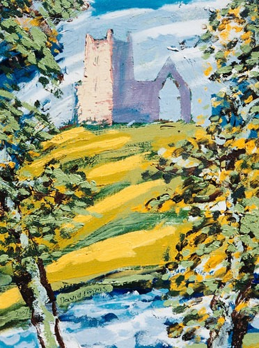 David Imms - The Ruined Church - Oil on Board - 16 x 12 inches