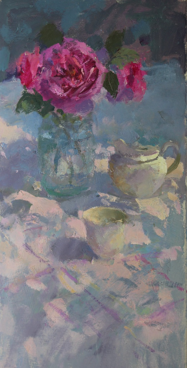 Jacqueline Williams - Roses - Oil on Card Laid on Board - 14.5 x 22.5 inches