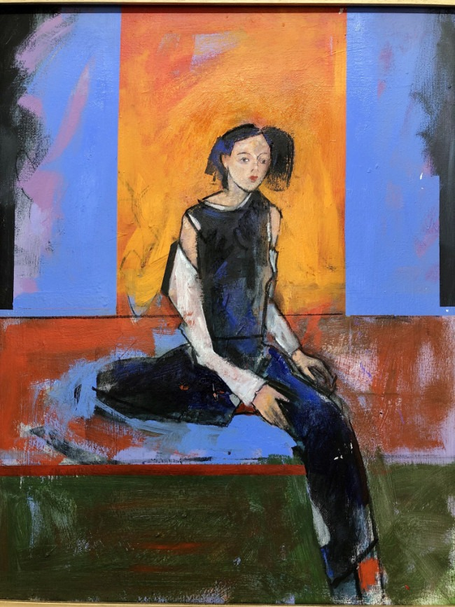 John Wragg - Seated Woman - Acrylic on Canvas - 34 x 28 inches