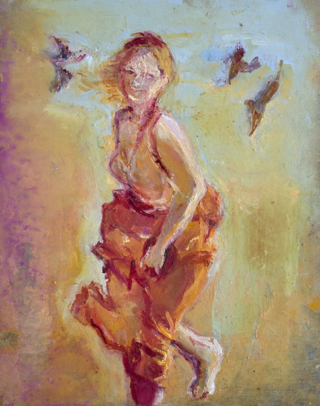 June Redfern - Katherine Dancing - Oil on Gesso Board - 10 x 8