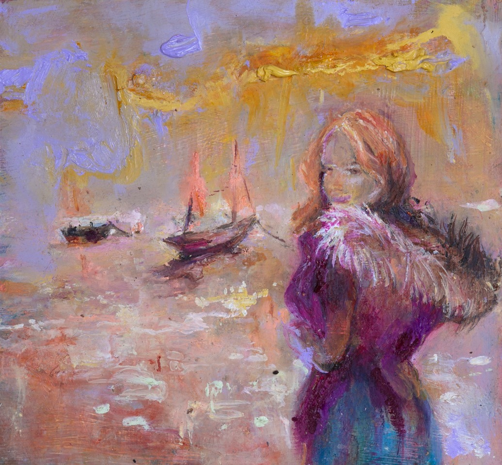 June Redfern - Just a Girl in a Parka - Oil on Gesso Board - 20 x 18