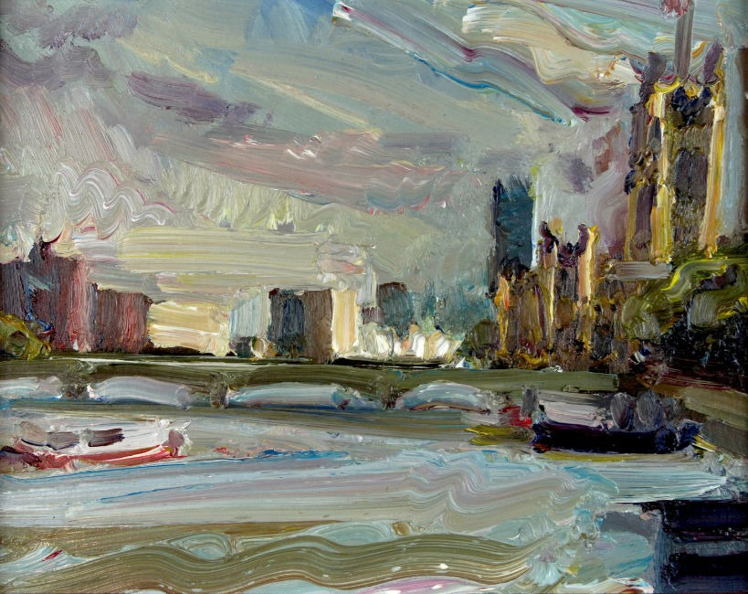 Lawrence Quigley - View from Hungerford Bridge - Oil on Board - 8 x 10 inches