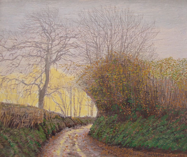 Maurice Sheppard - Light on the Road, Crowhill, Pembrokeshire - Oil on Board - 7 x 9 inches