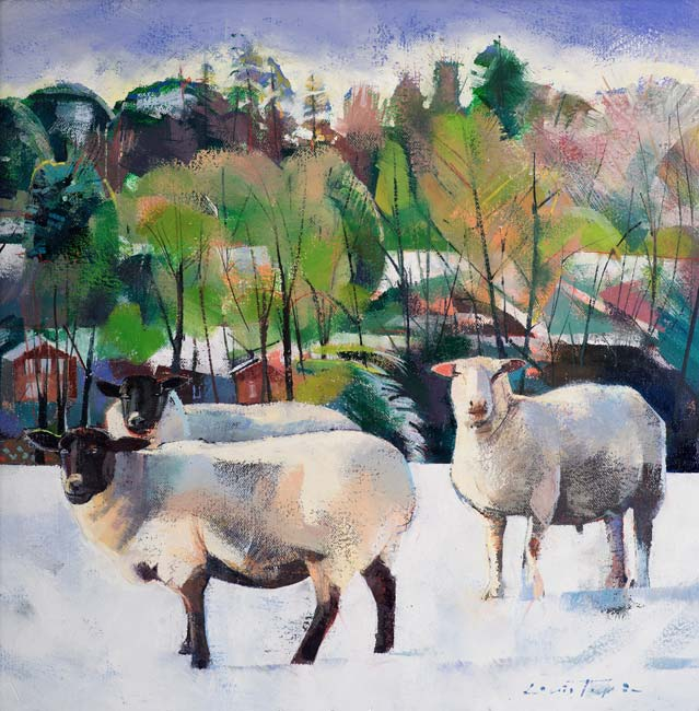 Louis Turpin - Three Sheep in a Snowscape - Oil - 12 x 12 inches