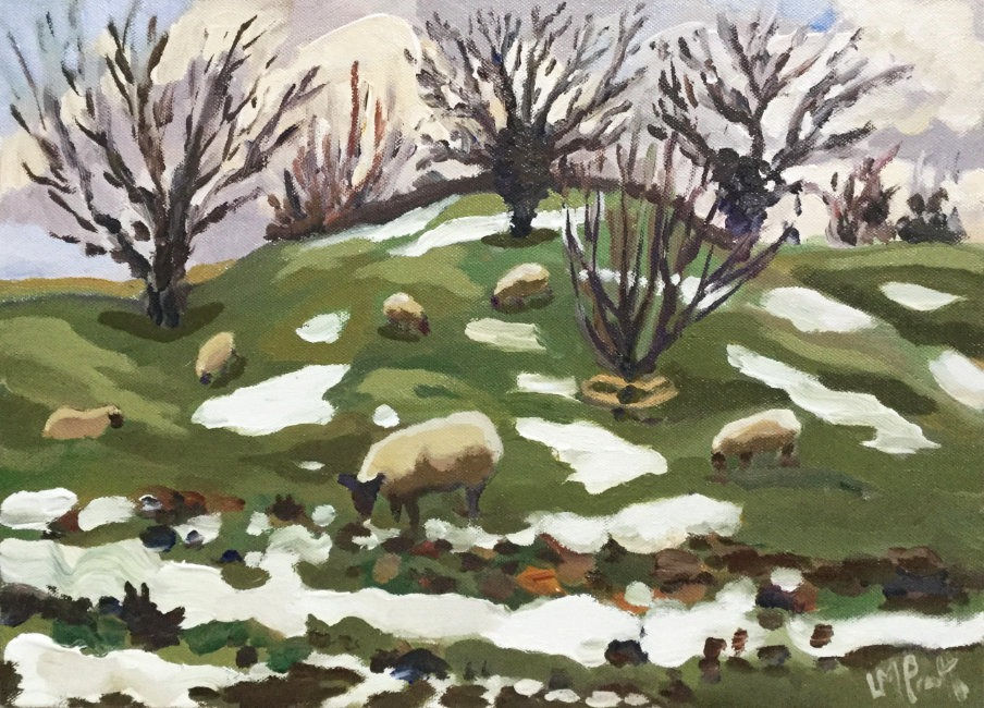Lucy Pratt - As the snow melts - Oil on canvas - 12 x 16 inches