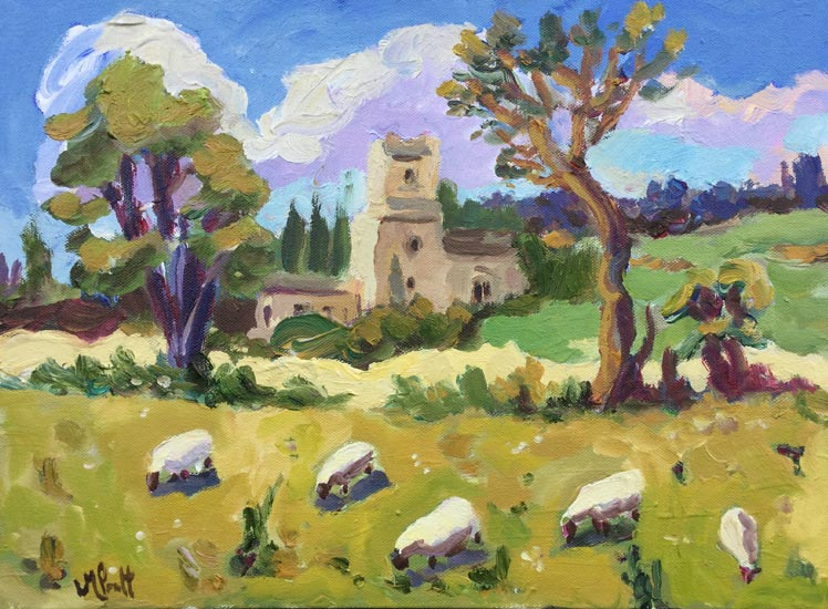 Lucy Pratt - Church and Sheep, Coln St Dennis - Oil on Canvas - 12 x 16 inches