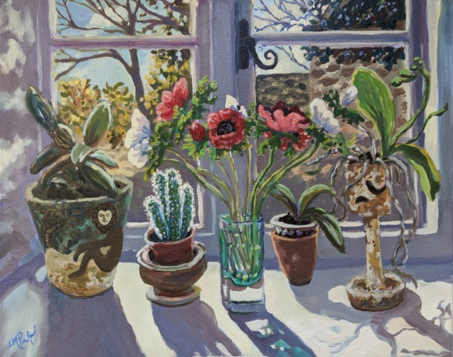 Lucy Pratt - Red Anemones and Orchids in the Monkey pot - Oil on Canvas - 24 x 30 inches