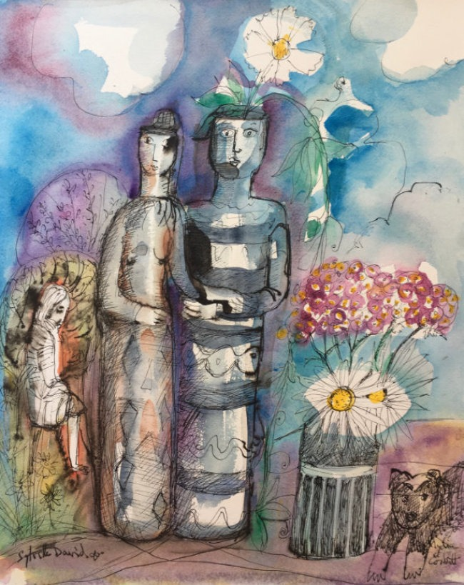 Lydia Corbett - Clay People Vases - Watercolour with Indian Ink - 16 x 20 inches