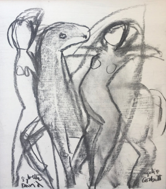 Lydia Corbett - Dancing with Horses - Charcoal on Board - 17 x 15 inches