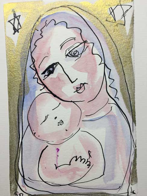 Lydia Corbett - Gold Mother and Child - Watercolour - 8 x 5 inches