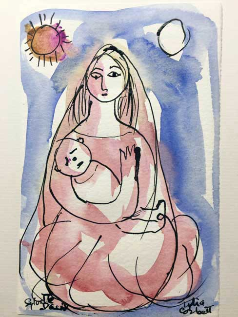 Lydia Corbett - Mother, Sun and Moon - Watercolour - 8 x 5 inches