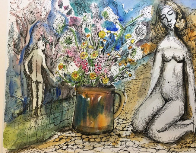 Lydia Corbett - Naked Figure by the River - Watercolour with Indian Ink - 20 x 16 inches