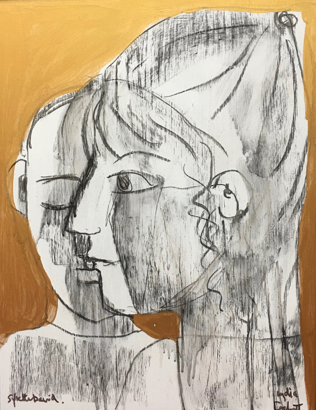 Lydia Corbett - Picasso and I - Charcoal on Board with Gold Ink - 21 x 16 inches