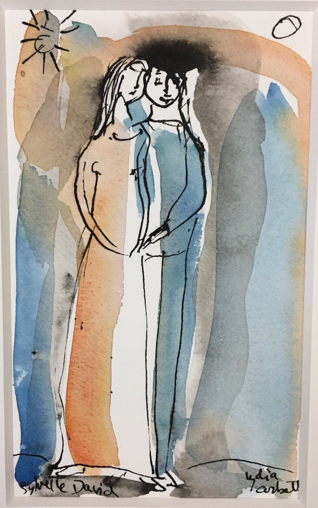 Lydia Corbett - The Couple - Watercolour with Indian Ink - 6 x 10 inches
