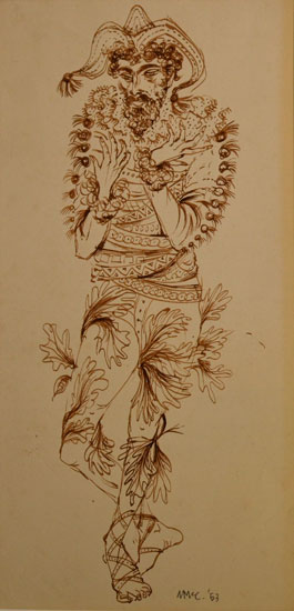 Ursula McCannell - Magician c1953 - Pen and Ink Drawing - 6.5 x 14 inches