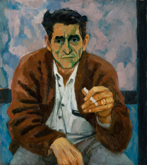 Ursula McCannell - Man on step c1980 - Oil on Board - 18 x 16 inches