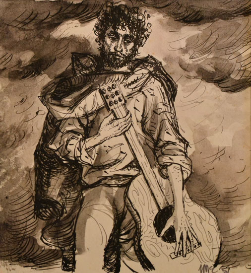 Ursula McCannell - Man With Guitar c1957 - Ink and Wash - 5.5 x 6 inches