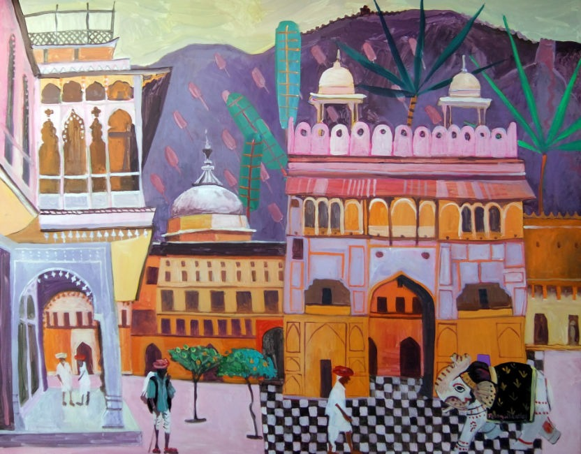 Jenny Wheatley - Market Place - Acrylic on Canvas - 28 x 36 inches