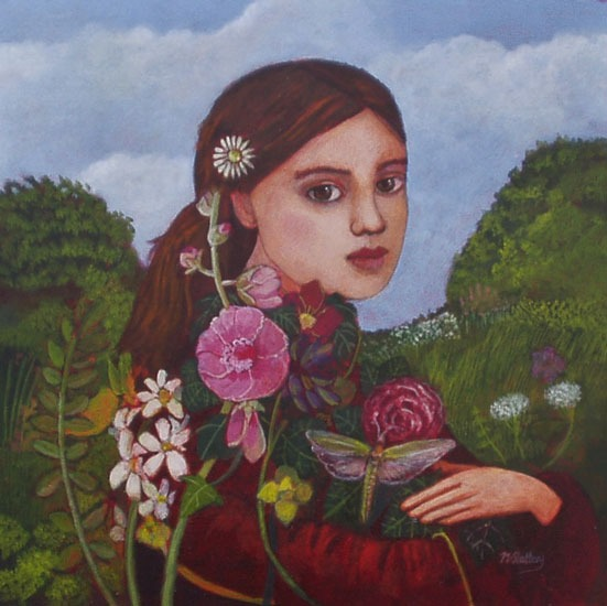 Nicola Slattery - Meadow Girl - Acrylic on Wood - 8 x 8 inches