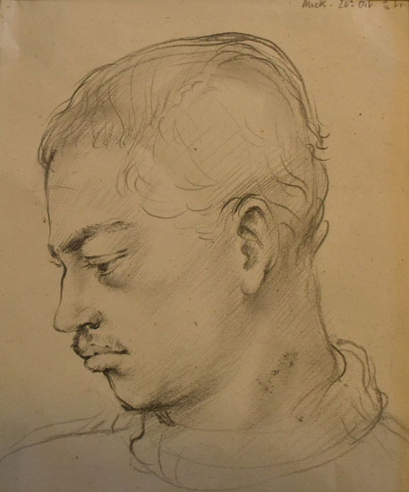 Ursula McCannell - Michael Cadman c1942 - Pencil Drawing - 5 x 6 inches