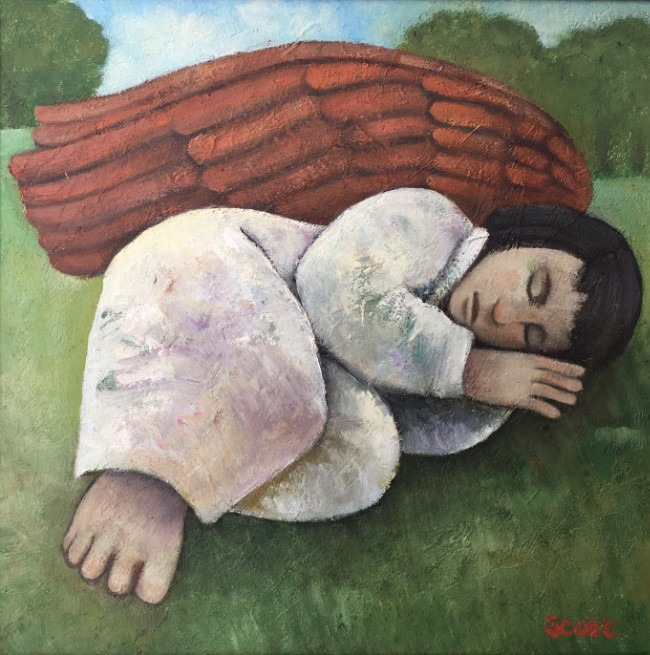 Michael Scott - Angelic Slumbers - Oil on Board - 11 x 11 inches