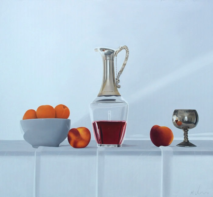 Michael de Bono - Apricots, Peaches and Wine - Oil - 15 x 14 inches
