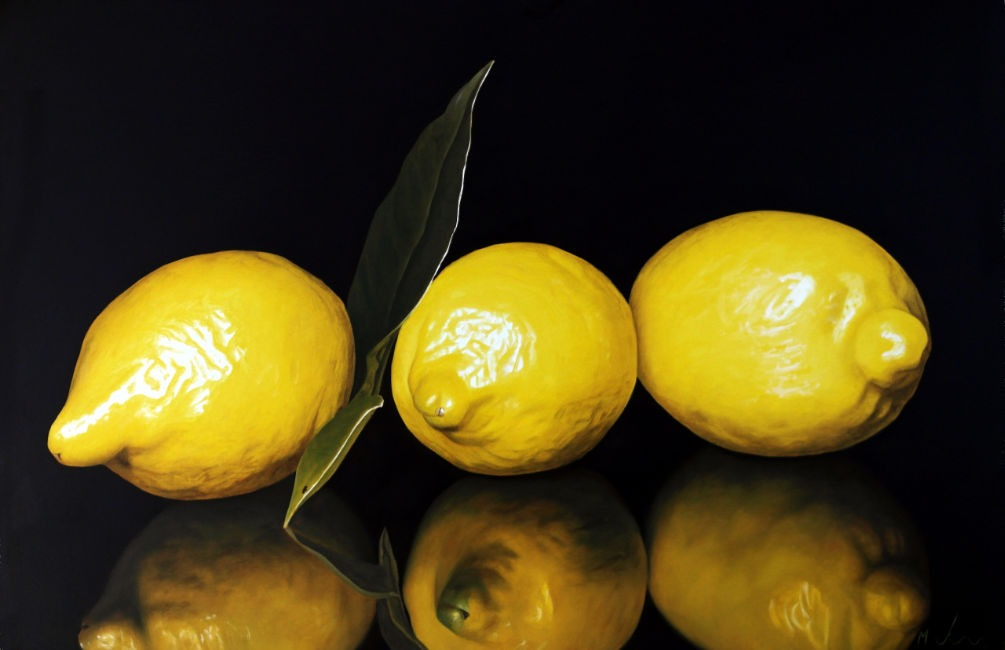 Michael de Bono - Three Lemons Reflected - Oil on Canvas - 14 x 10 inches