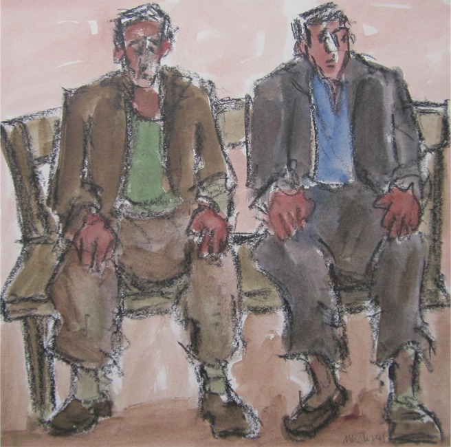 Mike Jones - Brothers - Crayon and Wash - 16 x 16 inches