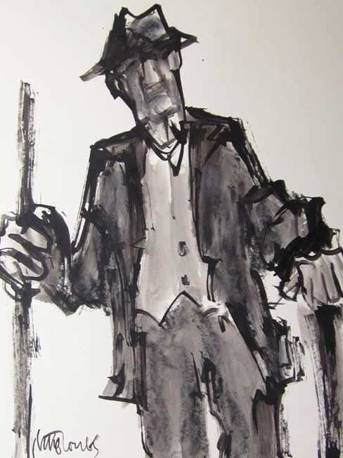 Mike Jones - Farmer with Stick - Ink Wash - 12 x 10 inches