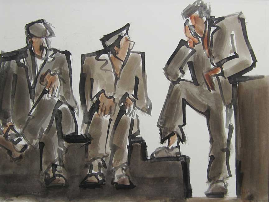 Mike Jones - Figures, Harbour Wall - Ink Wash - 9 x 12 inches
