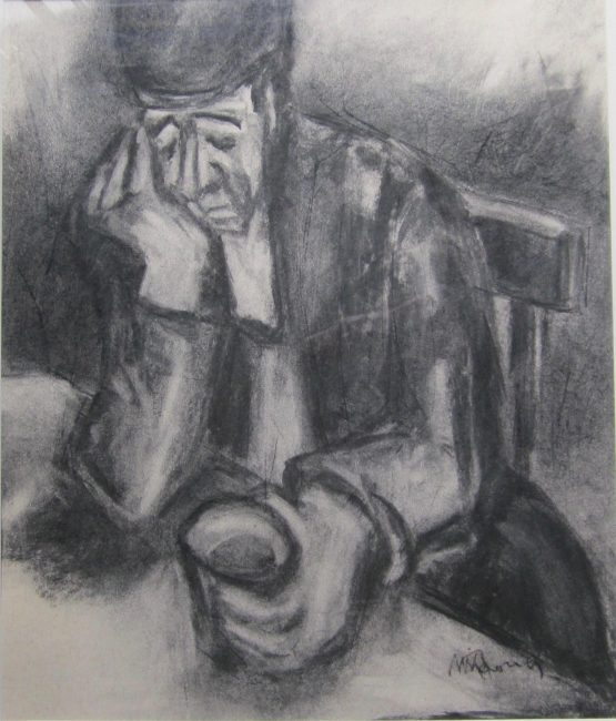 Mike Jones - Man at Table - Charcoal - 19 x 16 inches