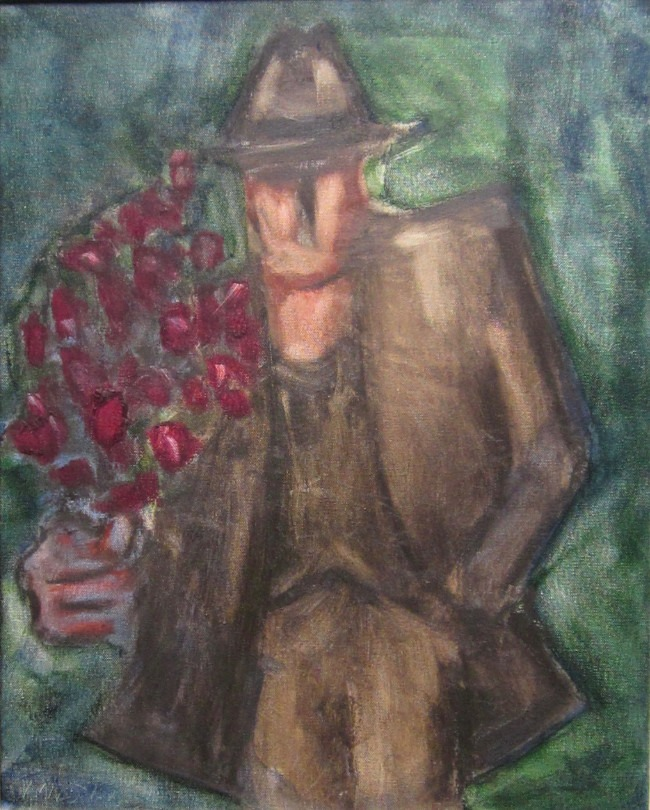 Mike Jones - Man with Bouquet - Oil on Board - 20 x 16 inches